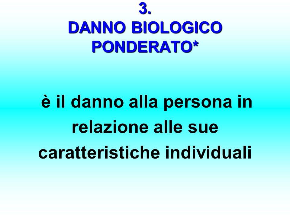 3. DANNO BIOLOGICO PONDERATO* è il danno alla persona in relazione alle sue caratteristiche individuali