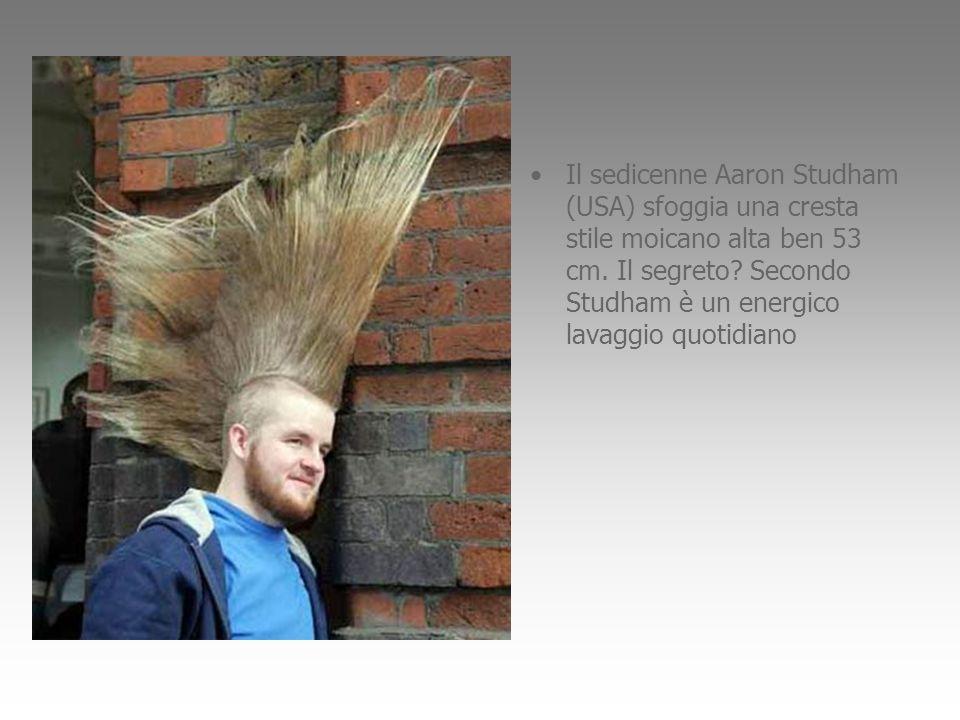 Il sedicenne Aaron Studham (USA) sfoggia una cresta stile moicano alta ben 53 cm. Il segreto? Secondo Studham è un energico lavaggio quotidiano