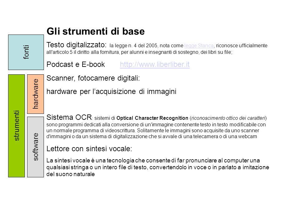 Gli strumenti di base Testo digitalizzato: la legge n. 4 del 2005, nota come legge Stanca, riconosce ufficialmente all'articolo 5 il diritto alla forn