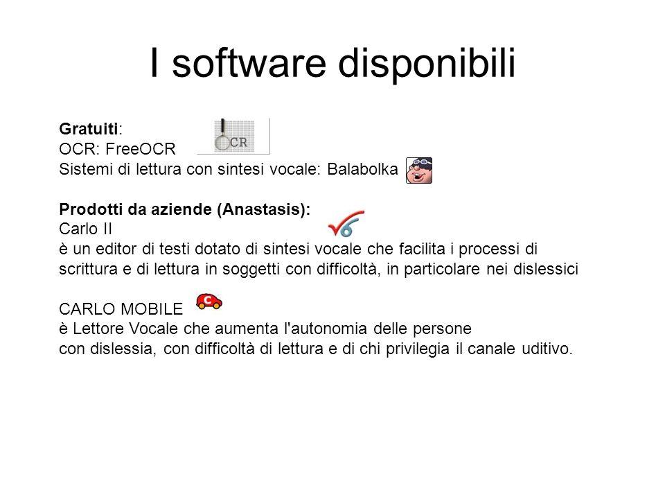 I software disponibili Gratuiti: OCR: FreeOCR Sistemi di lettura con sintesi vocale: Balabolka Prodotti da aziende (Anastasis): Carlo II è un editor d