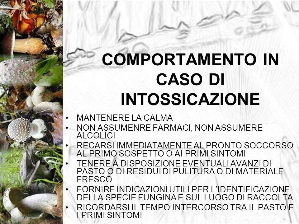 COMPORTAMENTO IN CASO DI INTOSSICAZIONE MANTENERE LA CALMA NON ASSUMENRE FARMACI, NON ASSUMERE ALCOLICI RECARSI IMMEDIATAMENTE AL PRONTO SOCCORSO AL P