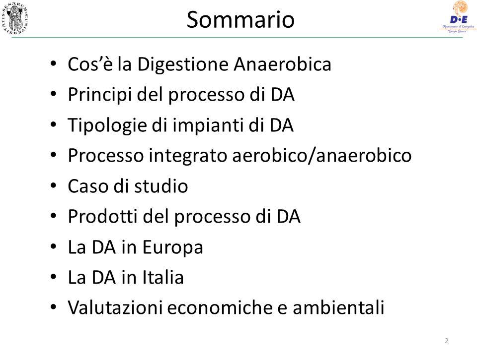 Sommario Cosè la Digestione Anaerobica Principi del processo di DA Tipologie di impianti di DA Processo integrato aerobico/anaerobico Caso di studio Prodotti del processo di DA La DA in Europa La DA in Italia Valutazioni economiche e ambientali 2