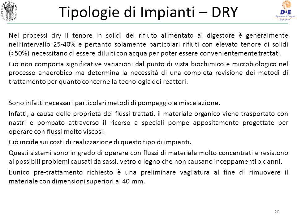 Tipologie di Impianti – DRY 20 Nei processi dry il tenore in solidi del rifiuto alimentato al digestore è generalmente nellintervallo 25-40% e pertant