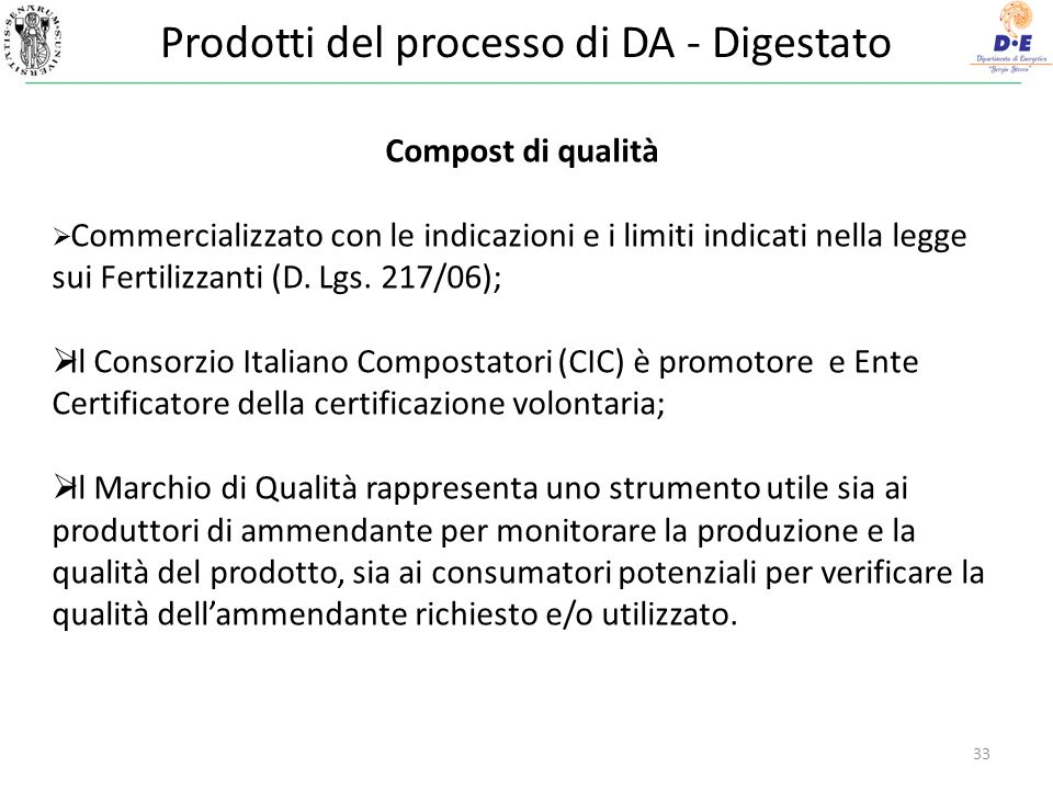 Prodotti del processo di DA - Digestato 33 Compost di qualità Commercializzato con le indicazioni e i limiti indicati nella legge sui Fertilizzanti (D.