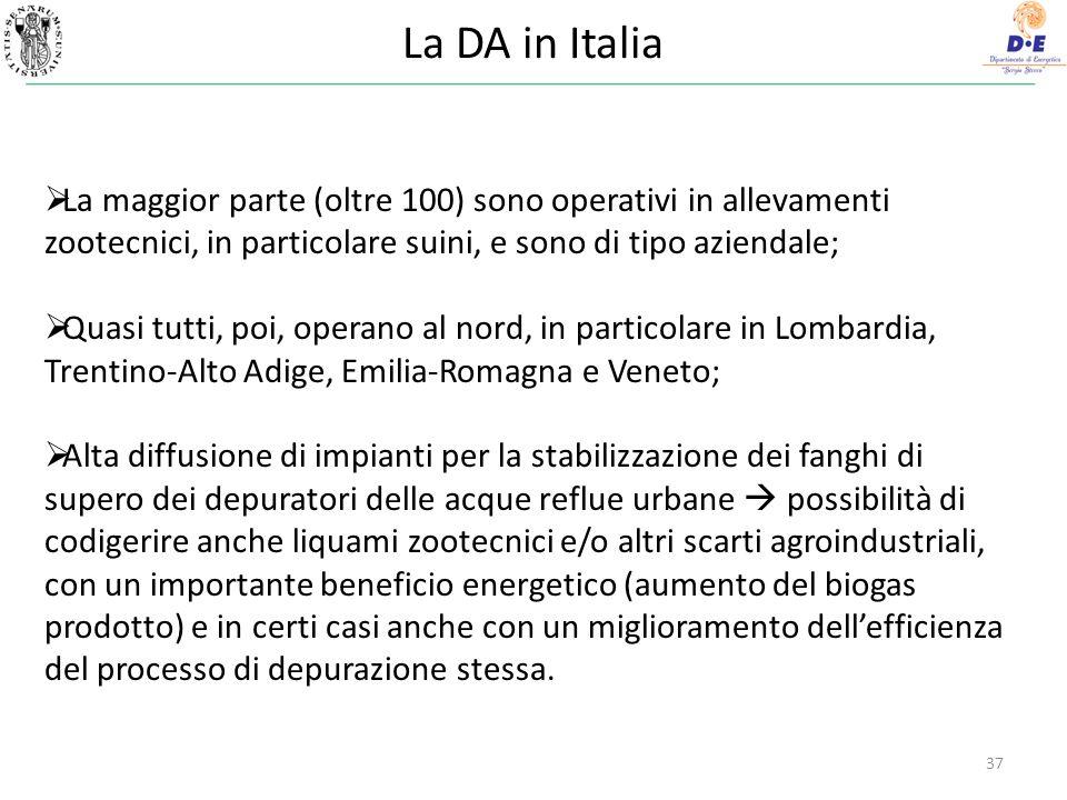 La DA in Italia 37 La maggior parte (oltre 100) sono operativi in allevamenti zootecnici, in particolare suini, e sono di tipo aziendale; Quasi tutti, poi, operano al nord, in particolare in Lombardia, Trentino-Alto Adige, Emilia-Romagna e Veneto; Alta diffusione di impianti per la stabilizzazione dei fanghi di supero dei depuratori delle acque reflue urbane possibilità di codigerire anche liquami zootecnici e/o altri scarti agroindustriali, con un importante beneficio energetico (aumento del biogas prodotto) e in certi casi anche con un miglioramento dellefficienza del processo di depurazione stessa.