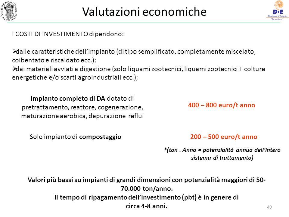 Valutazioni economiche 40 Impianto completo di DA dotato di pretrattamento, reattore, cogenerazione, maturazione aerobica, depurazione reflui 400 – 800 euro/t anno Solo impianto di compostaggio200 – 500 euro/t anno *(ton.