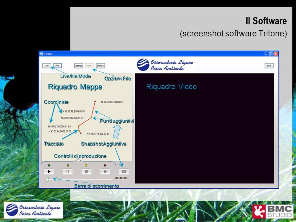 Il Software (screenshot software Tritone) Riquadro Video Riquadro Mappa Tracciato Coordinate Controlli di riproduzione Snapshot Aggiuntive Punti aggiu