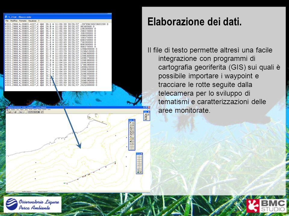Elaborazione dei dati. Il file di testo permette altresì una facile integrazione con programmi di cartografia georiferita (GIS) sui quali è possibile