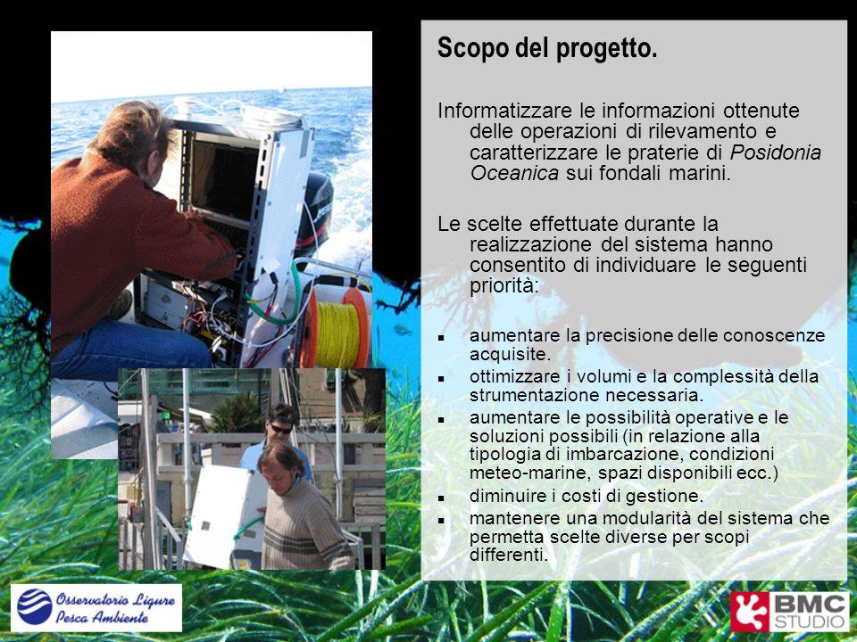 Scopo del progetto. Informatizzare le informazioni ottenute delle operazioni di rilevamento e caratterizzare le praterie di Posidonia Oceanica sui fon