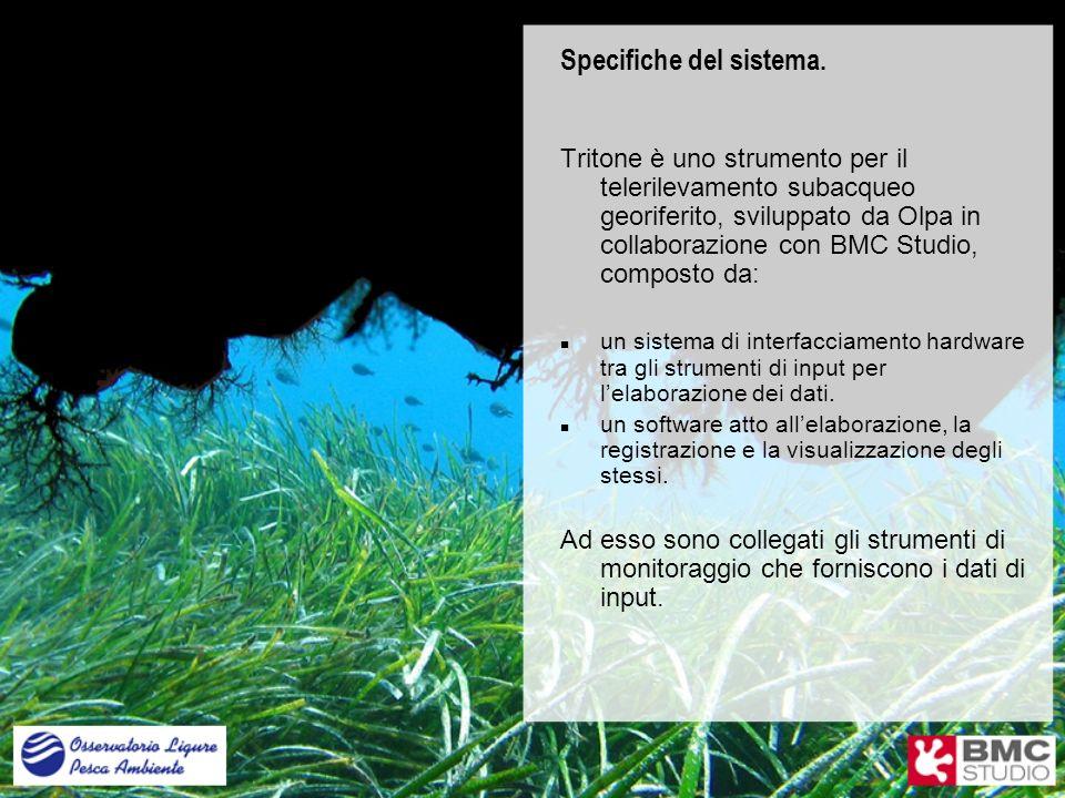 Specifiche del sistema. Tritone è uno strumento per il telerilevamento subacqueo georiferito, sviluppato da Olpa in collaborazione con BMC Studio, com