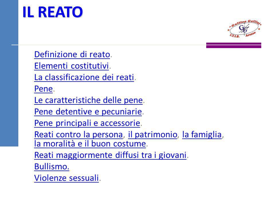 IL REATO Definizione di reatoDefinizione di reato. Elementi costitutiviElementi costitutivi. La classificazione dei reatiLa classificazione dei reati.