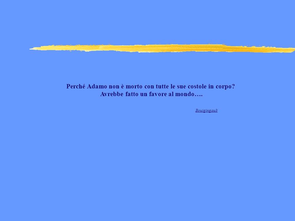 Perché Adamo non è morto con tutte le sue costole in corpo? Avrebbe fatto un favore al mondo…. Bouigingault