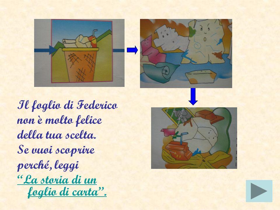 Come è possibile riciclare il foglio di Federico? Rifletti, poi rispondi cliccando sul mattoncino. Lo gettiamo nel cestino insieme ad altri rifiuti. L