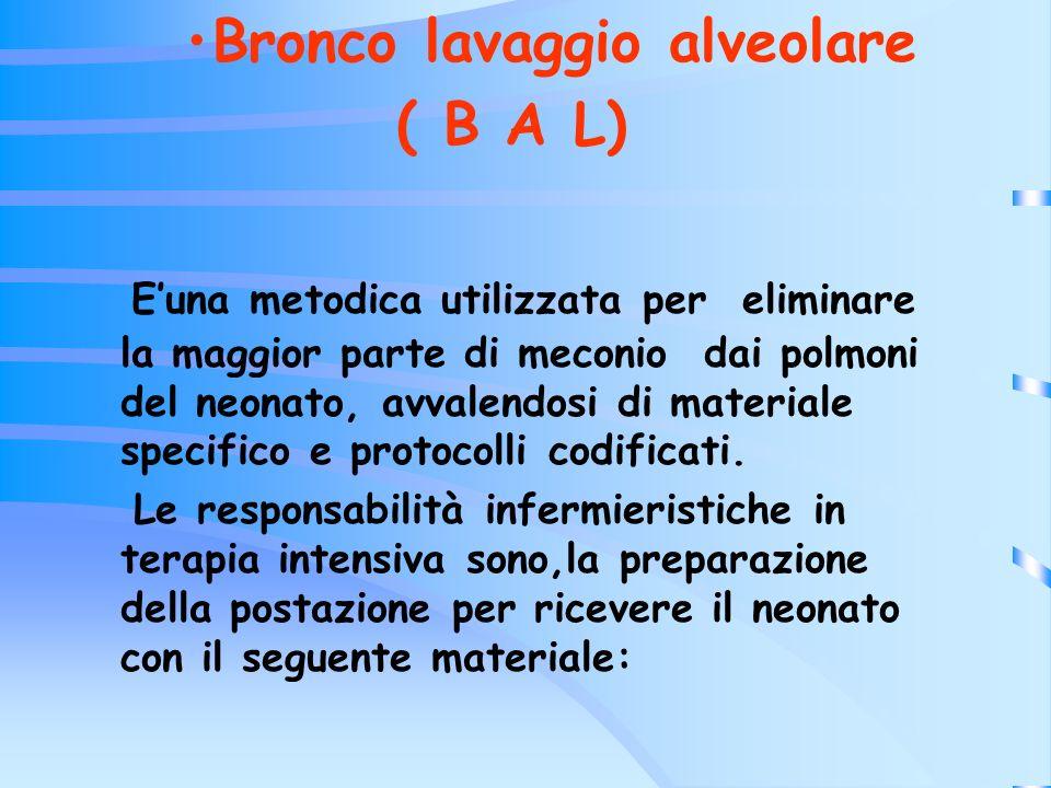 Bronco lavaggio alveolare ( B A L) Euna metodica utilizzata per eliminare la maggior parte di meconio dai polmoni del neonato, avvalendosi di material