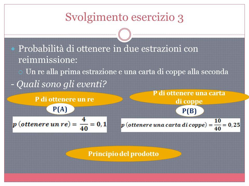 Svolgimento esercizio 3 Probabilità di ottenere in due estrazioni con reimmissione: Un re alla prima estrazione e una carta di coppe alla seconda - Quali sono gli eventi.