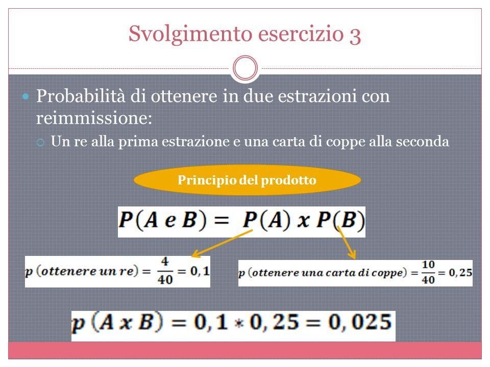 Svolgimento esercizio 3 Probabilità di ottenere in due estrazioni con reimmissione: Un re alla prima estrazione e una carta di coppe alla seconda Principio del prodotto