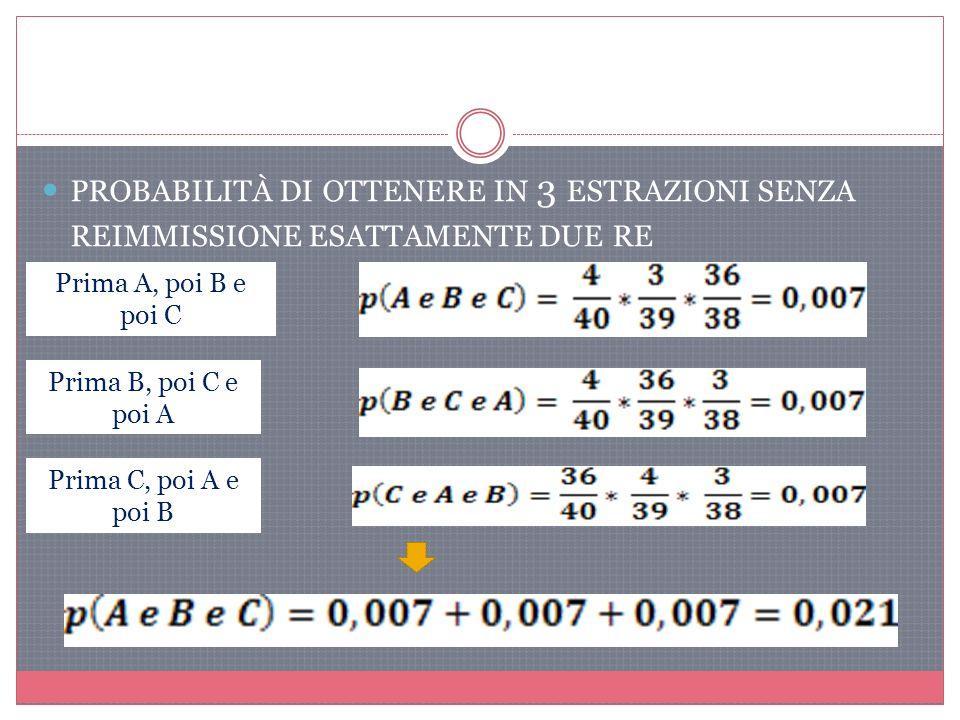 PROBABILITÀ DI OTTENERE IN 3 ESTRAZIONI SENZA REIMMISSIONE ESATTAMENTE DUE RE Prima A, poi B e poi C Prima B, poi C e poi A Prima C, poi A e poi B
