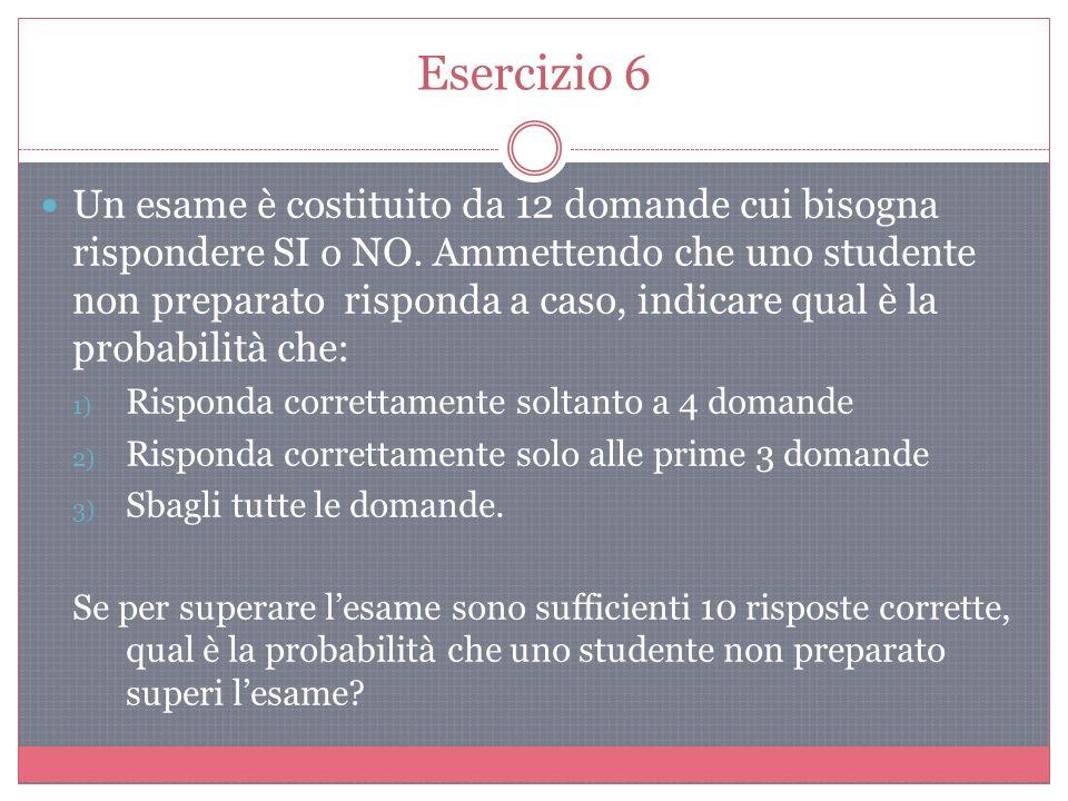 Esercizio 6 Un esame è costituito da 12 domande cui bisogna rispondere SI o NO.