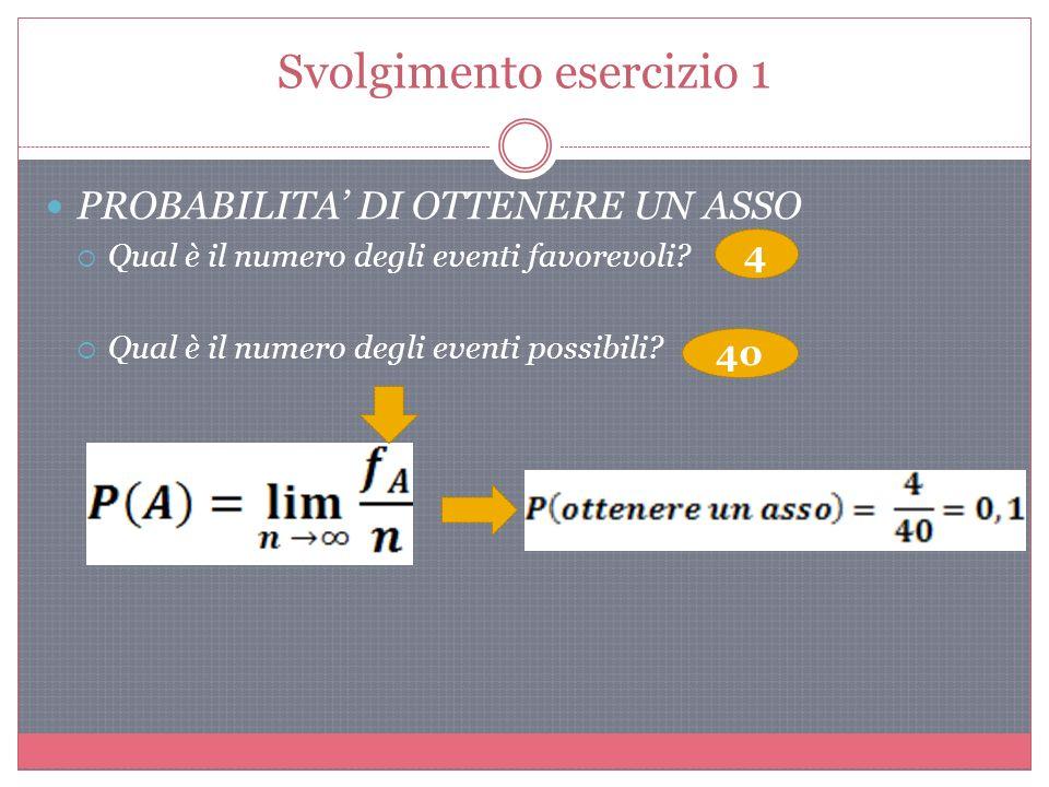 Svolgimento esercizio 1 PROBABILITA DI OTTENERE UN ASSO Qual è il numero degli eventi favorevoli.
