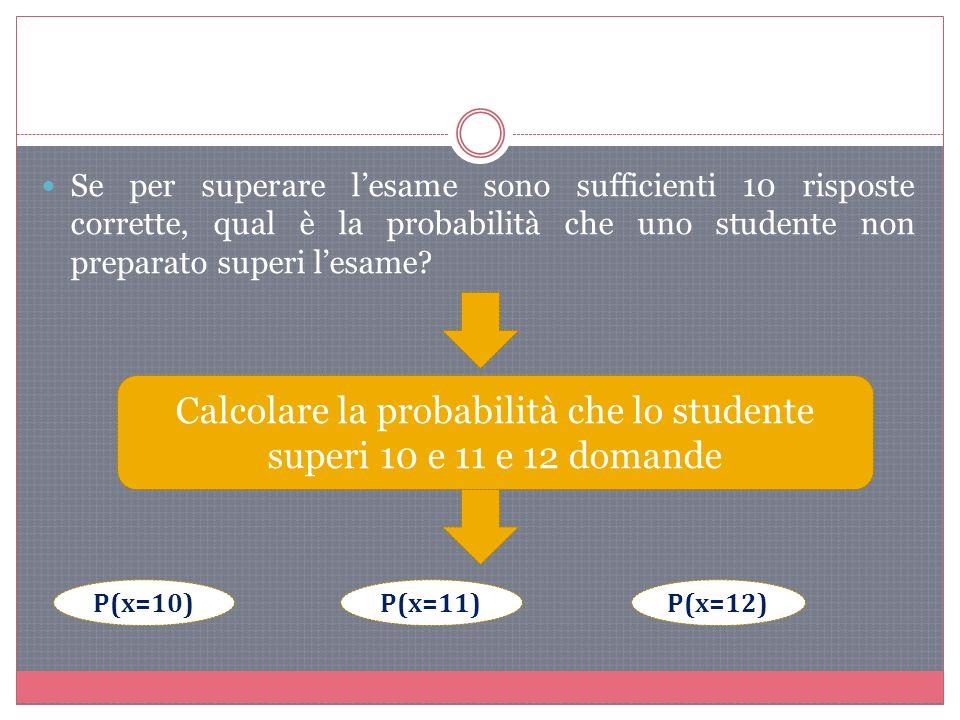 Se per superare lesame sono sufficienti 10 risposte corrette, qual è la probabilità che uno studente non preparato superi lesame.