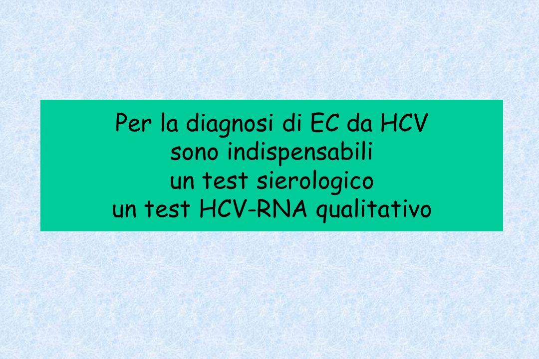Per la diagnosi di EC da HCV sono indispensabili un test sierologico un test HCV-RNA qualitativo