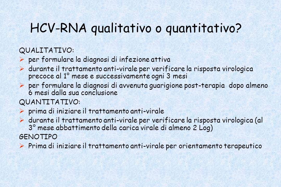 HCV-RNA qualitativo o quantitativo? QUALITATIVO: per formulare la diagnosi di infezione attiva durante il trattamento anti-virale per verificare la ri