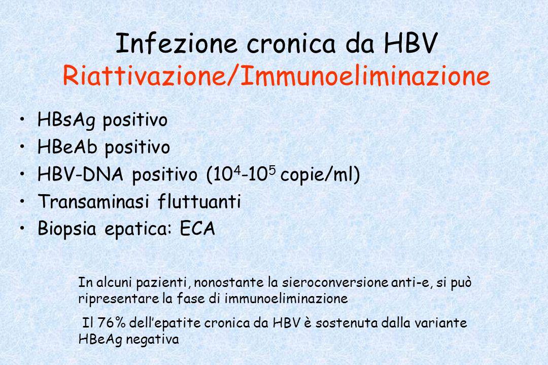 Infezione cronica da HBV Riattivazione/Immunoeliminazione HBsAg positivo HBeAb positivo HBV-DNA positivo (10 4 -10 5 copie/ml) Transaminasi fluttuanti
