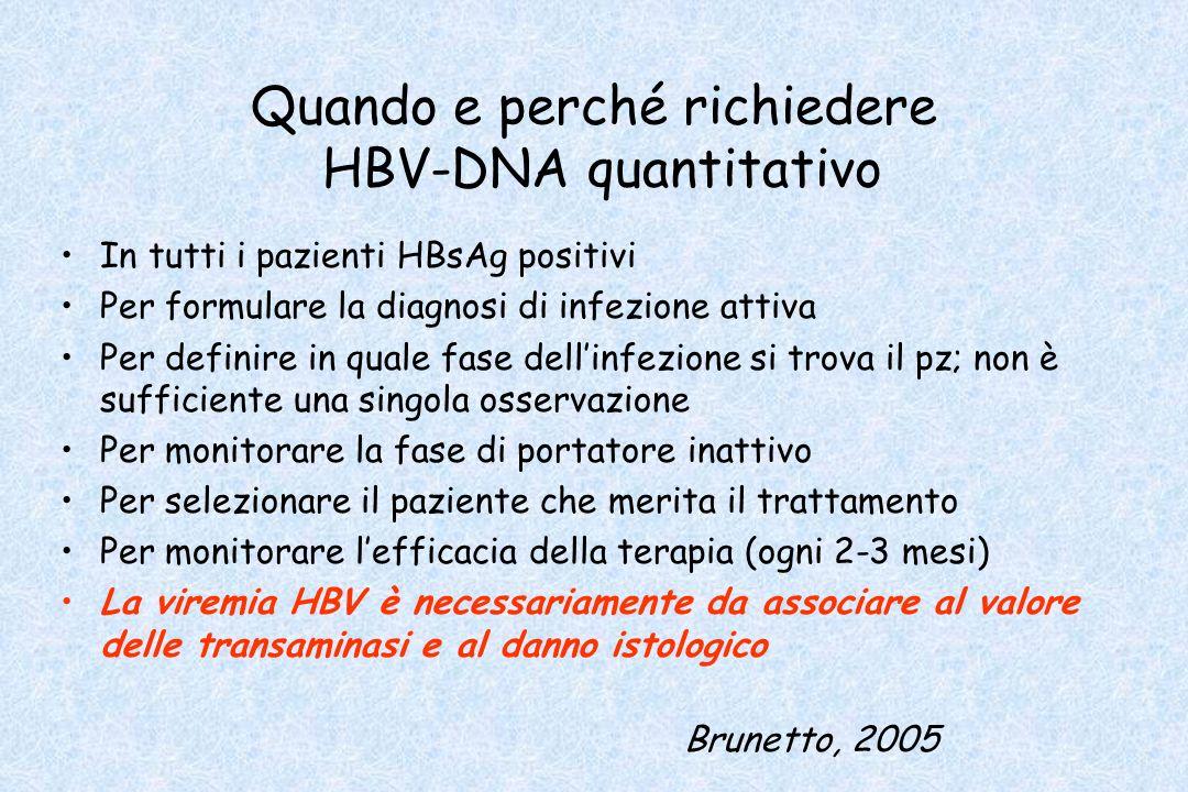 Quando e perché richiedere HBV-DNA quantitativo In tutti i pazienti HBsAg positivi Per formulare la diagnosi di infezione attiva Per definire in quale