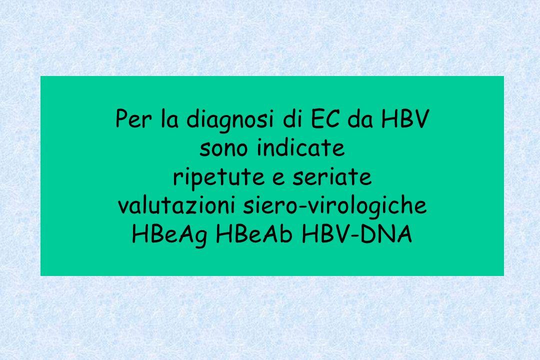 Per la diagnosi di EC da HBV sono indicate ripetute e seriate valutazioni siero-virologiche HBeAg HBeAb HBV-DNA