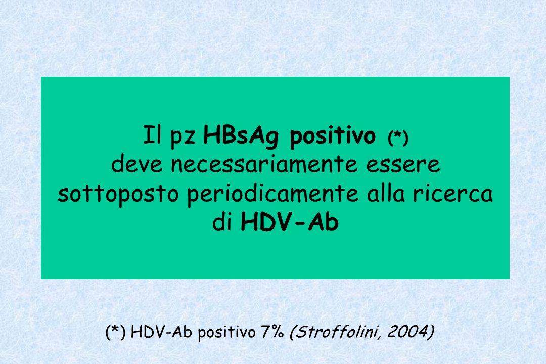 Il pz HBsAg positivo (*) deve necessariamente essere sottoposto periodicamente alla ricerca di HDV-Ab (*) HDV-Ab positivo 7% (Stroffolini, 2004)