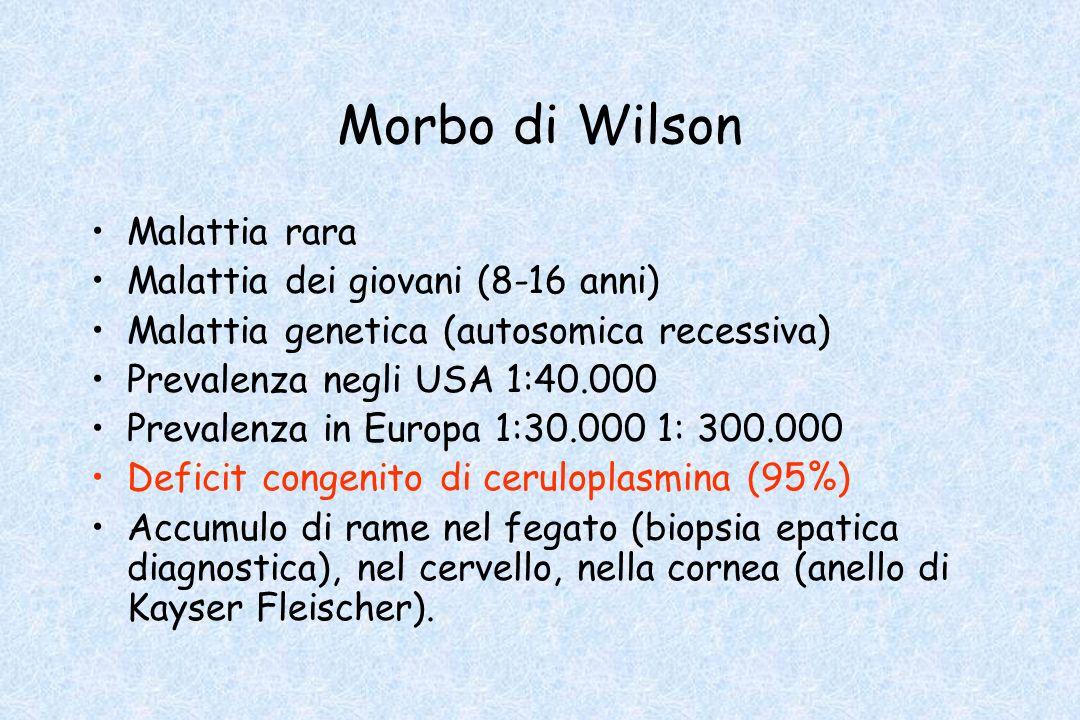 Morbo di Wilson Malattia rara Malattia dei giovani (8-16 anni) Malattia genetica (autosomica recessiva) Prevalenza negli USA 1:40.000 Prevalenza in Eu