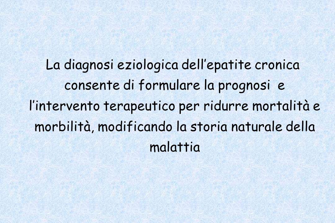La diagnosi eziologica dellepatite cronica consente di formulare la prognosi e lintervento terapeutico per ridurre mortalità e morbilità, modificando
