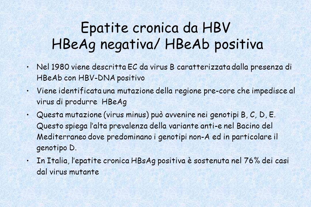 Epatite cronica da HBV HBeAg negativa/ HBeAb positiva Nel 1980 viene descritta EC da virus B caratterizzata dalla presenza di HBeAb con HBV-DNA positi