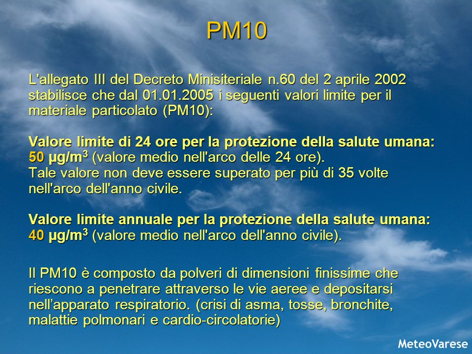 PM10 L'allegato III del Decreto Minisiteriale n.60 del 2 aprile 2002 stabilisce che dal 01.01.2005 i seguenti valori limite per il materiale particola
