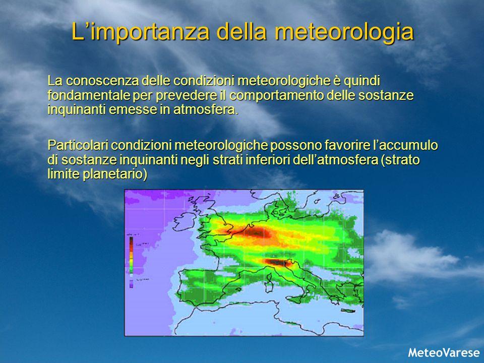 Limportanza della meteorologia La conoscenza delle condizioni meteorologiche è quindi fondamentale per prevedere il comportamento delle sostanze inqui