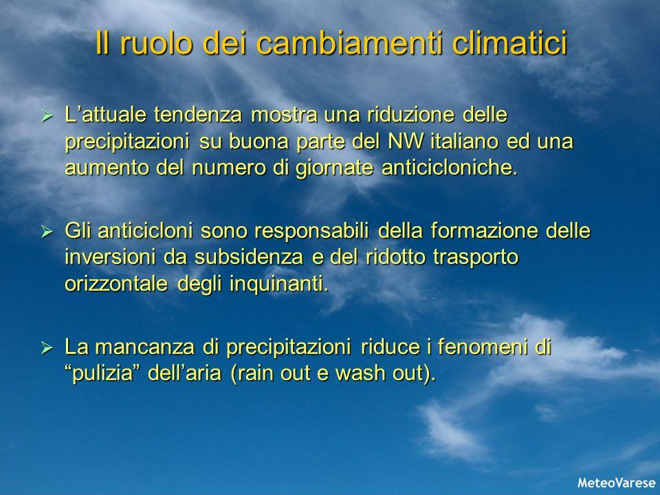 Il ruolo dei cambiamenti climatici Lattuale tendenza mostra una riduzione delle precipitazioni su buona parte del NW italiano ed una aumento del numer
