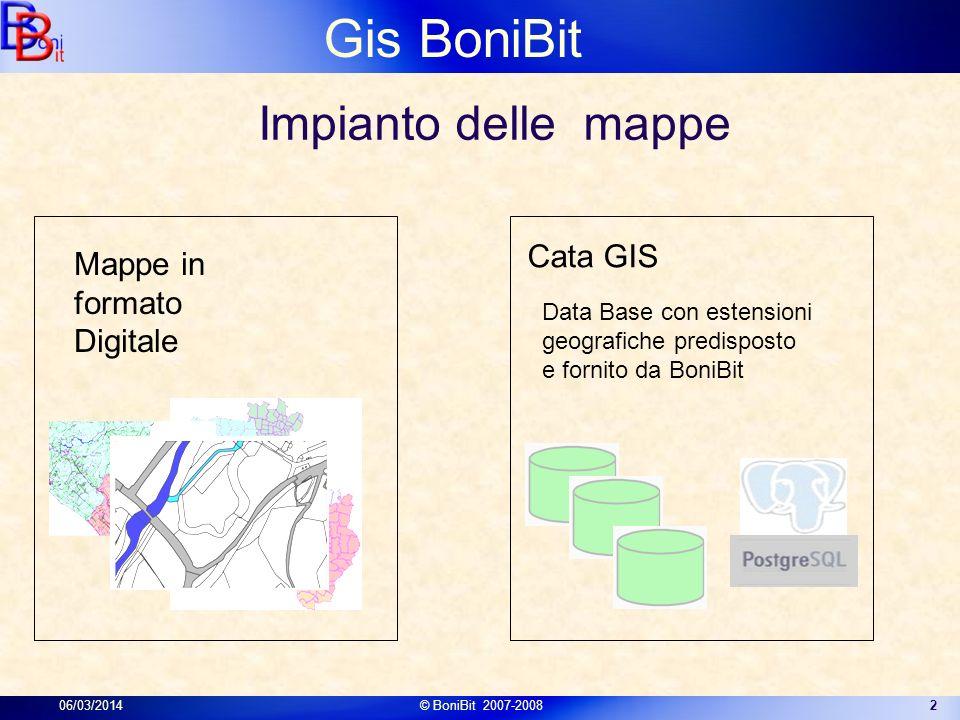 Gis BoniBit 06/03/2014© BoniBit 2007-20082 Data Base con estensioni geografiche predisposto e fornito da BoniBit Mappe in formato Digitale Cata GIS Im
