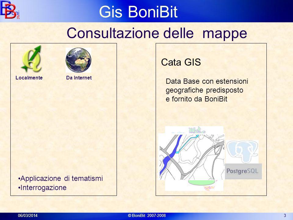 Gis BoniBit 06/03/2014© BoniBit 2007-20083 Data Base con estensioni geografiche predisposto e fornito da BoniBit Cata GIS Consultazione delle mappe Ap