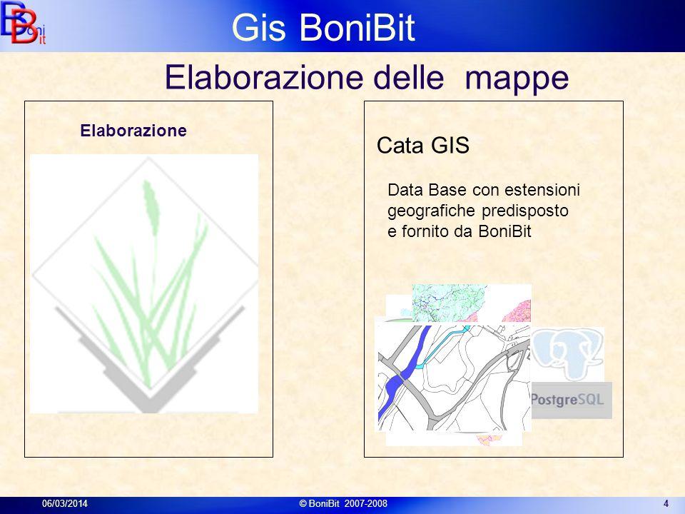 Gis BoniBit 06/03/2014© BoniBit 2007-20084 Data Base con estensioni geografiche predisposto e fornito da BoniBit Cata GIS Elaborazione delle mappe Ela
