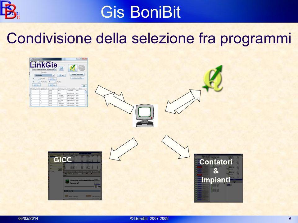 Gis BoniBit 06/03/2014© BoniBit 2007-20089 Condivisione della selezione fra programmi Contatori & Impianti GICC LinkGis