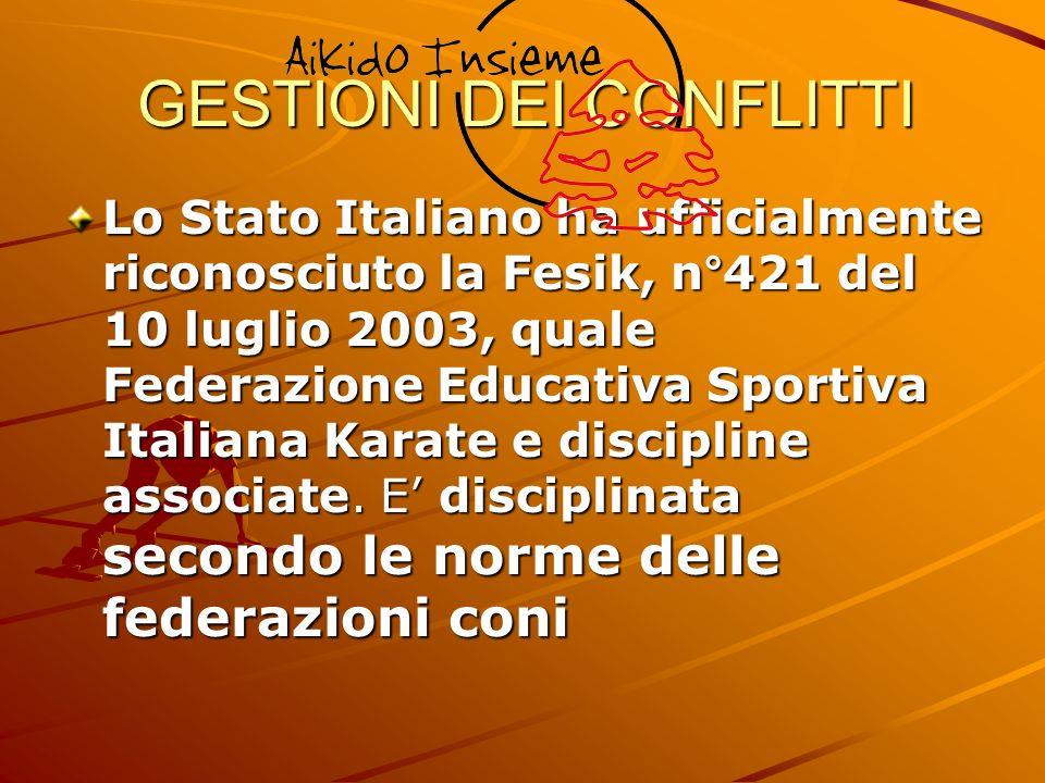 GESTIONI DEI CONFLITTI Lo Stato Italiano ha ufficialmente riconosciuto la Fesik, n°421 del 10 luglio 2003, quale Federazione Educativa Sportiva Italia