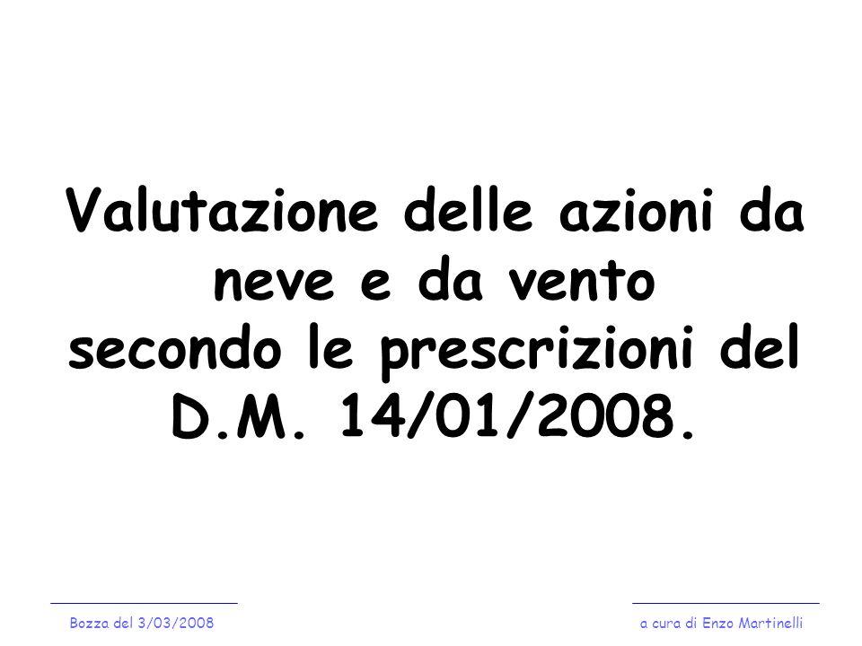 Valutazione delle azioni da neve e da vento secondo le prescrizioni del D.M. 14/01/2008. a cura di Enzo MartinelliBozza del 3/03/2008