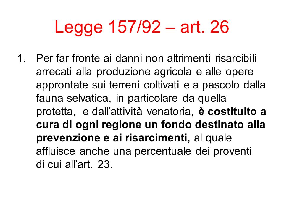 Legge 157/92 – art.