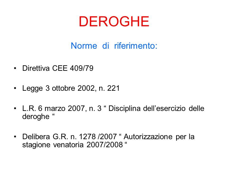 DEROGHE Norme di riferimento: Direttiva CEE 409/79 Legge 3 ottobre 2002, n.