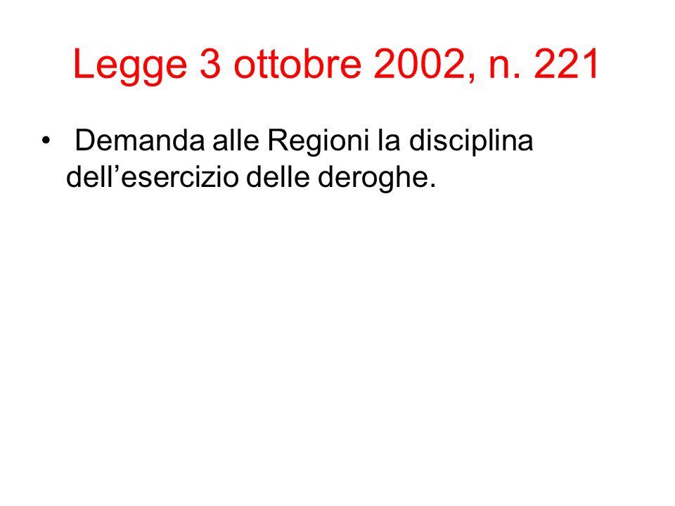 Legge 3 ottobre 2002, n. 221 Demanda alle Regioni la disciplina dellesercizio delle deroghe.