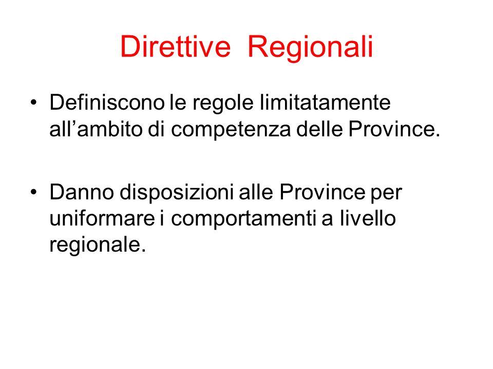Direttive Regionali Definiscono le regole limitatamente allambito di competenza delle Province.
