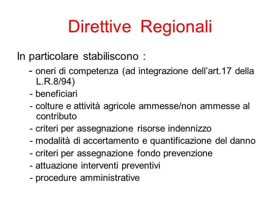 Direttive Regionali In particolare stabiliscono : - oneri di competenza (ad integrazione dellart.17 della L.R.8/94) - beneficiari - colture e attività agricole ammesse/non ammesse al contributo - criteri per assegnazione risorse indennizzo - modalità di accertamento e quantificazione del danno - criteri per assegnazione fondo prevenzione - attuazione interventi preventivi - procedure amministrative