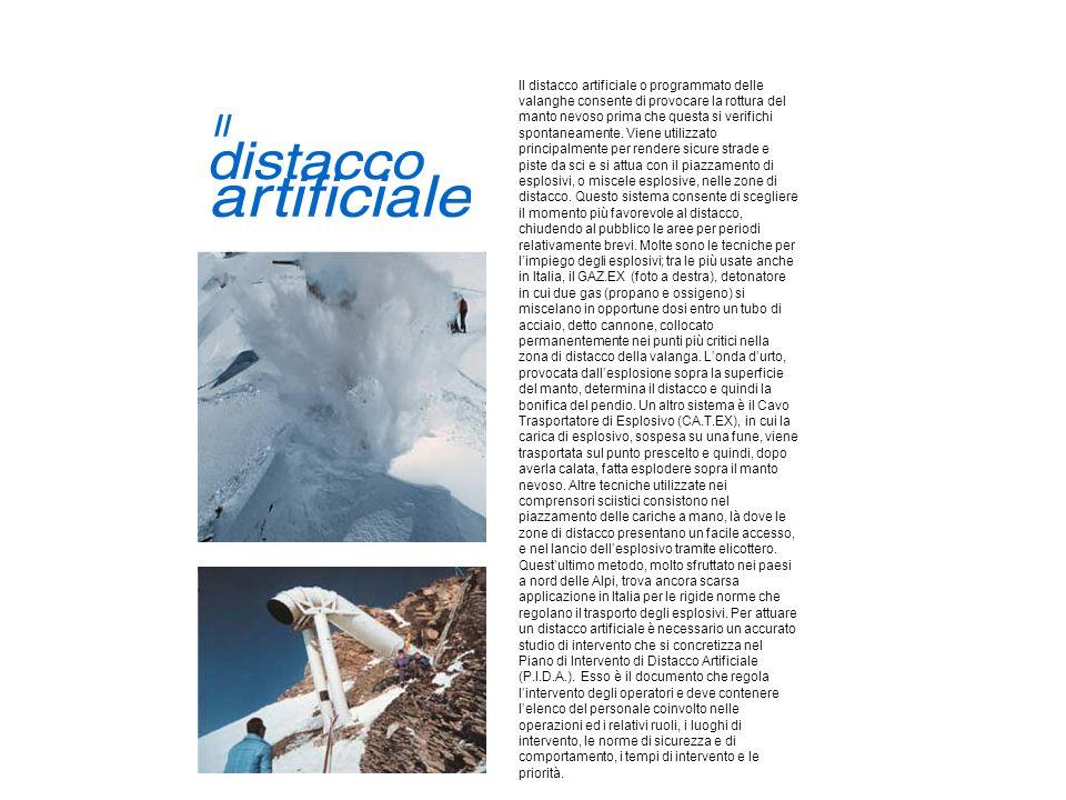 Il distacco artificiale o programmato delle valanghe consente di provocare la rottura del manto nevoso prima che questa si verifichi spontaneamente. V