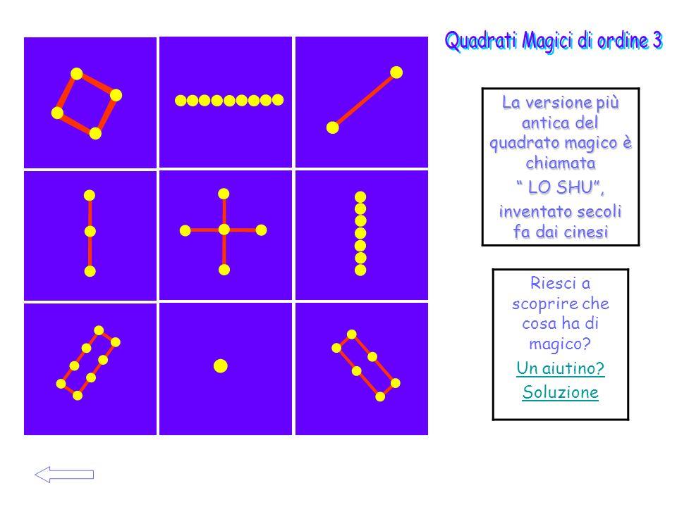La versione più antica del quadrato magico è chiamata LO SHU, LO SHU, inventato secoli fa dai cinesi Riesci a scoprire che cosa ha di magico? Un aiuti