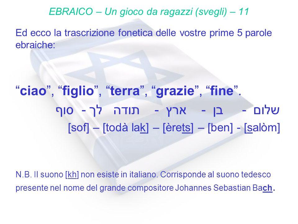 Ed ecco la trascrizione fonetica delle vostre prime 5 parole ebraiche: ciao, figlio, terra, grazie, fine. סוף - לך תודה - ארץ - בן - שלום [sof] – [tod